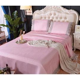 Light Pink Lace Polyester Sheet Style 3-Piece Summer Sleeping Mat Sets
