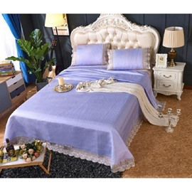 Polyester Purple Lace Sheet Style 3-piece Summer Sleeping Mat Sets
