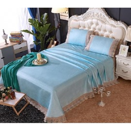 Sky Blue Lace Sheet Style Lace Polyester 3- Piece Summer Sleeping Mat Sets