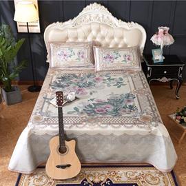 Flower Blooming Grey Polyester Digital Printing 3-Piece Summer Sleeping Mat Sets
