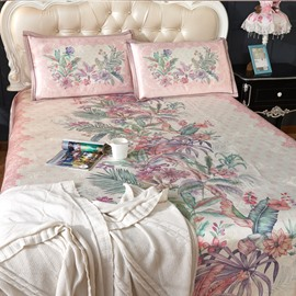Flower Blooming Pink Jacquard Pattern Printing 3-Piece Polyester Summer Sleeping Mat Sets