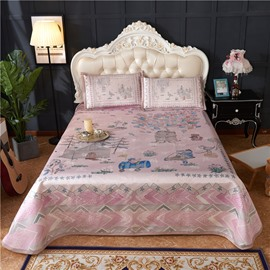 Pink Fairy Tale World Polyester Polyester Digital Printing 3-Piece Summer Sleeping Mat Sets