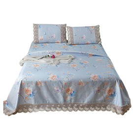 Floral Printed Lace Cool 3-Piece Summer Sleeping Mat Sets