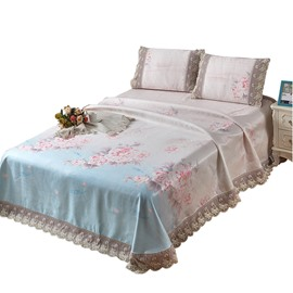 Floral Printed Lace Soft Polyester 3-Piece Lace Summer Sleeping Mat Sets