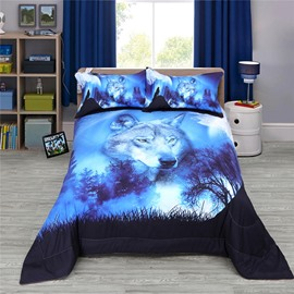 Wolf Gazing Somewhere 3D Reactive Printing Polyester Quilt