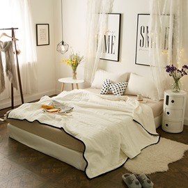 Pure White Simple European Style Cotton Summer Quilt