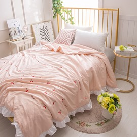 Pink Stripe And Little Cherry Pattern Rural Style Polyester Summer Quilt
