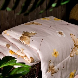 Pink Butterfly Pattern Simple Elegant Style Tencel Summer Quilt