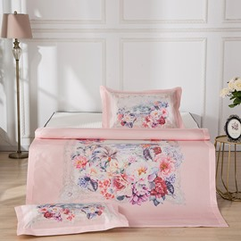 Floral Pattern Digital Printing Ice Polyester 3-Piece Summer Sleeping Mat Sets