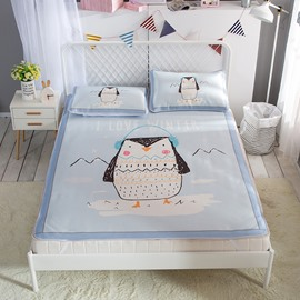 Owl Listening to Music Digital Printing Ice 3-Piece Summer Sleeping Mat Sets