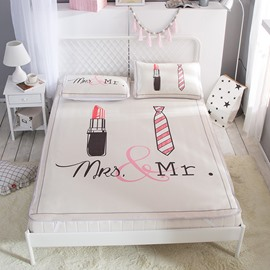 Lipstick and Tie Couple Mrs & Mr Digital Printing Ice 3-Piece Summer Sleeping Mat Sets