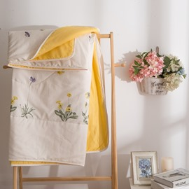 Bicycle Pattern Yellow Simple Style Cotton Air Conditioner Quilt
