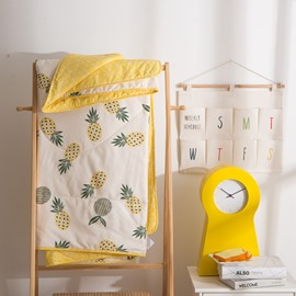 Yellow Pineapple Pattern Cute And Simple Style Cotton Summer Quilt