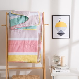 Colorful Stripe Pattern Sweet Candy Style Cotton Air Conditioner Quilt