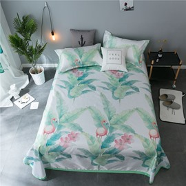 Flamingo and Green Plant Polyester Printing Ice Sheet 3-Piece Summer Sleeping Mat Sets