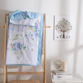 Colorful Flower Pattern Cold White Style Cotton Summer Quilt
