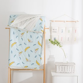 Banana And Leaf Pattern Blue Simple Style Cotton Summer Quilt