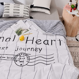 White Stripe Original Heart Printing Simple Cotton Summer Quilt