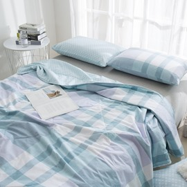Light Blue Plaid Pattern Simple Style Cotton Summer Quilt