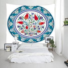 3D Flower in a Circle Printed Decorative Hanging Wall Tapestry