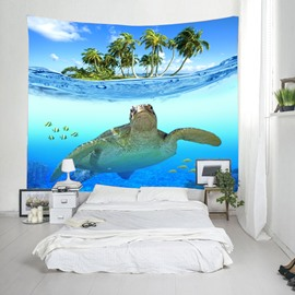 3D Turtle Swimming in the Sea Printed Decorative Hanging Wall Tapestry