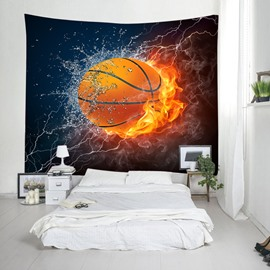 3D Basketball in Fire and Water Printing Decorative Hanging Wall Tapestry