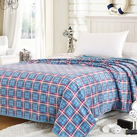 Blue Plaid Design Simple Flannel Bed Blanket