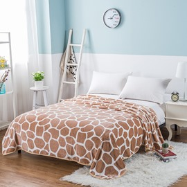 Brown Deer Spot Printing Flannel Bed Blanket