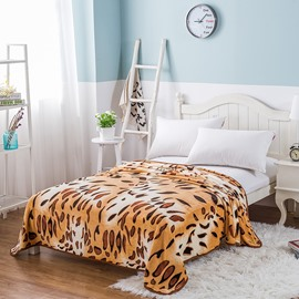 Leopard Printing Pattern Flannel Fall Brown Bed Blanket