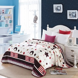Star and Moon Image Printing Flannel White Bed Blanket
