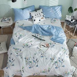 Light Blue Tree Reactive Printing White Cotton Quilt