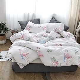 Flamingo and Tropical Leaves Printing Polyester Quilt