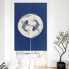 Carps Printing Blue Decorative Hanging Wall Tapestry