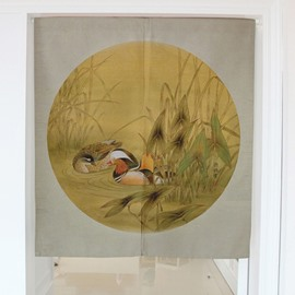 Mandarin Ducks Playing on the Water Printing Cotton Hanging Wall Tapestry