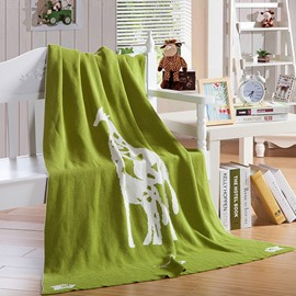 Giraffe Printing Green Cotton Knitting Blanket for Children