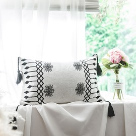 Geometric Pattern Cotton Breathable Soft White Lumbar Pillowcase