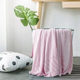Plain and Rhombus Design Bamboo Fiber Leisure Blanket