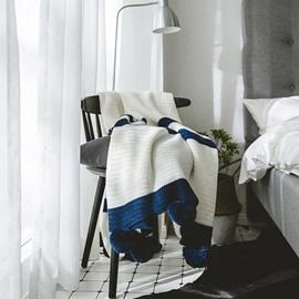 Blue Stripe Pattern Acrylic White Knitted Blanket