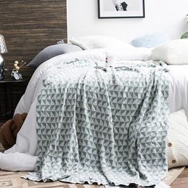 Simple Plaid Geometric Design Knitting Spring Cotton Blanket