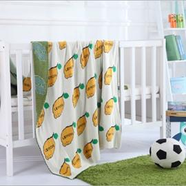 Yellow Lemon Design Children Cotton Thread Blanket