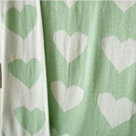 Heart-shaped Mint Green Children Cotton Thread Blanket