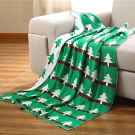 Green Pine Printing Cotton Children Thread Knitting Blanket