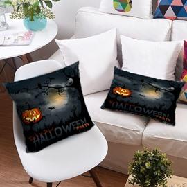 3D Pumpkin Lantern and Halloween Bats Printing Polyester Throw Pillow