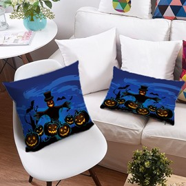 3D Pumpkin Lantern Halloween Printing Polyester Throw Pillow