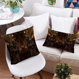 3D Skull and Monsters Halloween Printing Polyester Throw Pillow