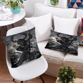 3D Skull and Monsters Fight for Evil Printing Polyester Throw Pillow