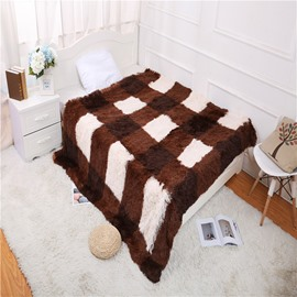 Coffee Stripes and Plaid Simple Style Double Thick Lamb Cashmere Blanket