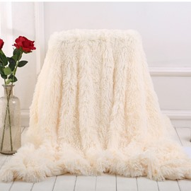 Milky White Fluffy and Warm Princess Style Double-Layer Blanket