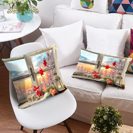 Window Scenery and Christmas Ornaments 3D Printing Polyester Throw Pillow