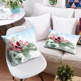 Reindeer Ornaments and Snow 3D Printing Polyester Throw Pillow